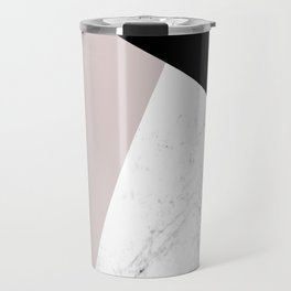 Pink, Black and Marble Geometric Travel Mug