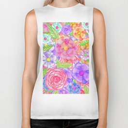 Pretty Hand Painted Watercolor Floral Collage Biker Tank
