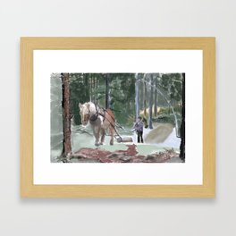Working hose in the forest Framed Art Print