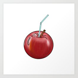 red Apple and a cocktail straw Art Print