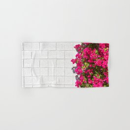 Bougainvilleas and White Brick Wall in Palm Springs, California Hand & Bath Towel