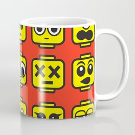 Yellow Cartoon Faces on Pink Background Coffee Mug