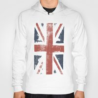 union jack Hoodies featuring Union Jack by David Hand