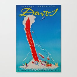 Davos Switzerland Ski Travel Canvas Print