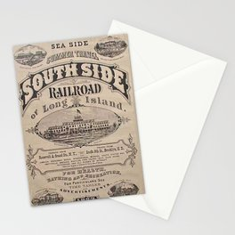 1873 Vintage South Side Railroad Long Island, New York Broadside Advertising Poster Stationery Cards