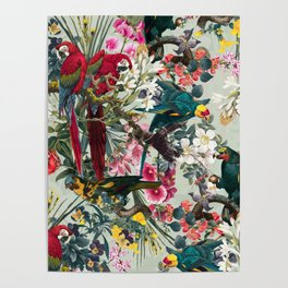 FLORAL AND BIRDS XXII Poster