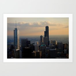 The Skyline at Dusk: From the Hancock (Chicago Architecture Collection) Art Print