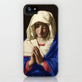 The Virgin in Prayer by Giovanni Sassoferrato (c. 1645) iPhone Case