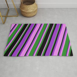 Dark Orchid, Violet, Forest Green, and Black Colored Lines Pattern Rug