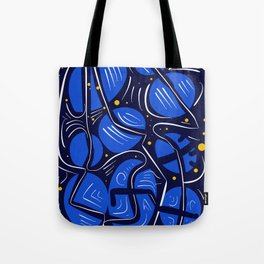 Blue Universe Galaxy with yellow stars Tote Bag
