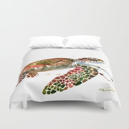 Sea Turtle, Brown, Olive green Pink Shades Duvet Cover