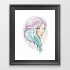 Green hair Framed Art Print