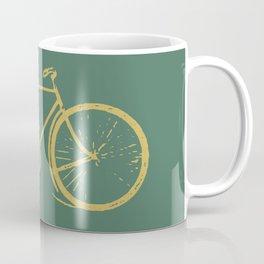 Gold Bicycle on Turquoise Coffee Mug