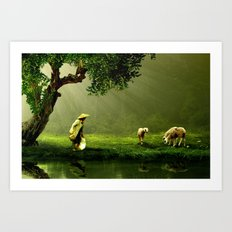 Shepherd Woman Art Print