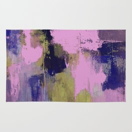 Wild Lilac - Abstract, textured, lilac, purple, blue and yellow oil painted artwork Rug