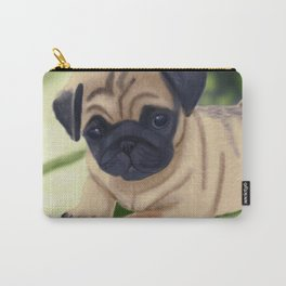 Cute pug on green sofa Carry-All Pouch