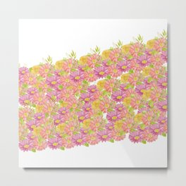 Pink coral yellow watercolor hand painted floral Metal Print