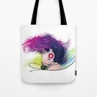 snatch Tote Bags featuring Listen. by Lorenzo Imperato
