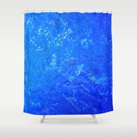 salt water Shower Curtains featuring water by Trauvsky