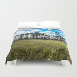Cypress Trees and Blue Skies Duvet Cover