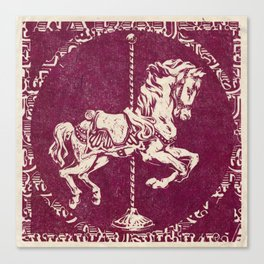 Vintage Carousel Horse - Mulberry Canvas Print