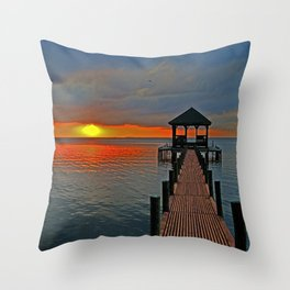 Down the Long dock Throw Pillow