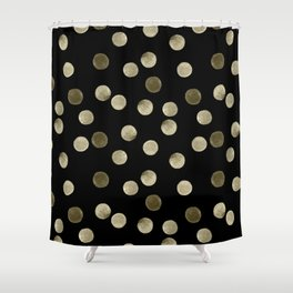 Watercolor . Olive green polka dots on black . Shower Curtain