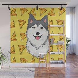 Aegis the Siberian Husky and Pizza Wall Mural