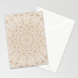 Brown Tan Intricate Detailed Hand Drawn Mandala Ethnic Pattern Design Stationery Cards