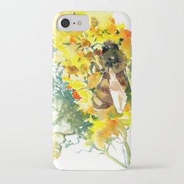 Honey Bee and Flower yellow honey bee design honey making iPhone Case