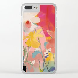 blooming abstract pink Clear iPhone Case