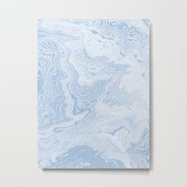 Marble suminagashi pastel blue minimal marbling spilled ink japanese decor Metal Print