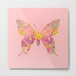 Butterfly Vintage Floral Pink Yellow Shabby Chic Metal Print
