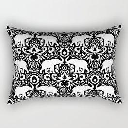 Elephant Damask Black and White Rectangular Pillow