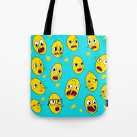 lemongrab Tote Bags featuring Lemongrab BLUE  by Stiles