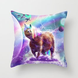 Rainbow Space Sloth Unicorn With Flying Turtle Throw Pillow