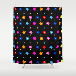 Colorful Floral Pattern on Black Background Shower Curtain