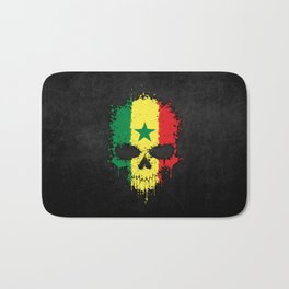 Flag of Senegal on a Chaotic Splatter Skull Bath Mat