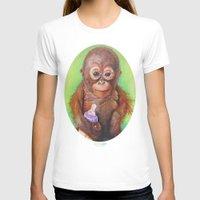 budi T-shirts featuring Budi the Rescued Baby Orangutan by Alina Bachmann