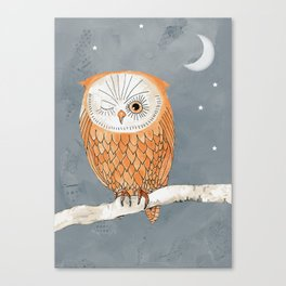Winking Owl by the Light of the Moon Canvas Print