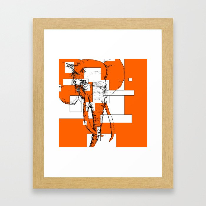 Orange is the New Elephant Framed Art Print