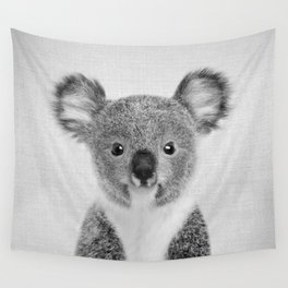 Baby Koala - Black & White Wall Tapestry