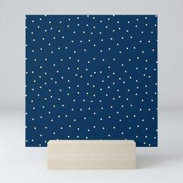 Small beige dots over blue Mini Art Print