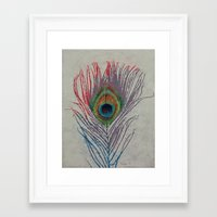 peacock feather Framed Art Prints featuring Peacock Feather by Michael Creese