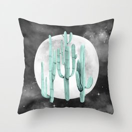 Cactus Nights Full Moon Starry Sage by Nature Magick Throw Pillow