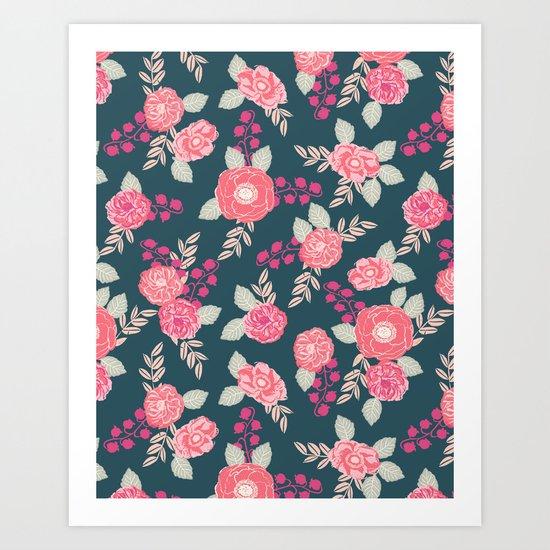 Ranunculus gardener garden floral flowers boho navy pink pastel cute pattern dorm college trendy Art Print