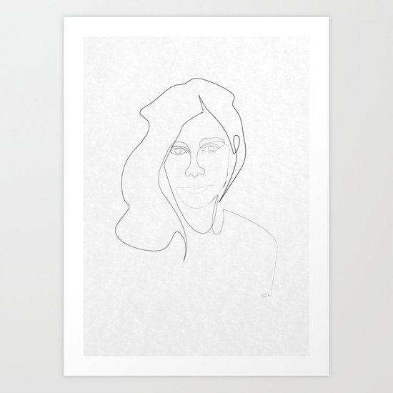 One Line Pj Harvey Art Print