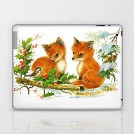 Vintage dream- little Winterfoxes in snowy forest Laptop & iPad Skin