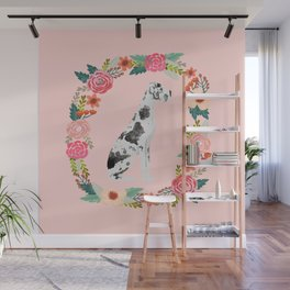 great dane dog floral wreath dog gifts pet portraits Wall Mural