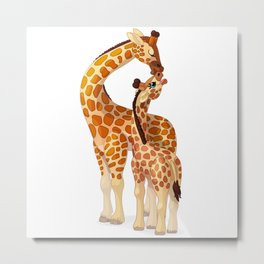 Mother and child giraffes Metal Print